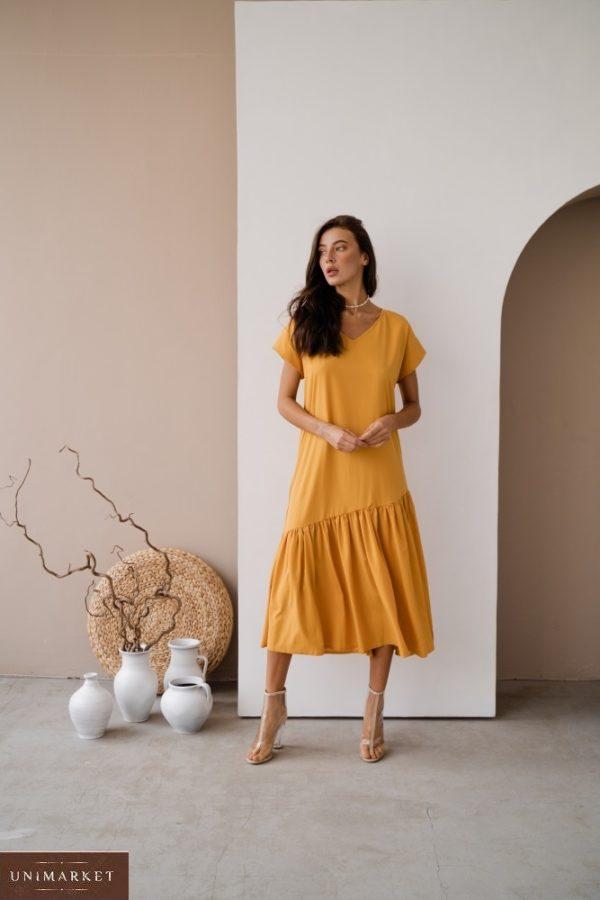 Заказать по скидке платье желтого цвета миди оверсайз с поясом для женщин