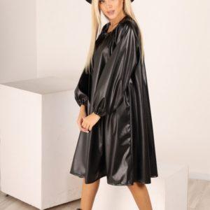 Заказать женское черное кожаное платье оверсайз в Украине