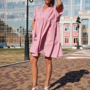 Купить по скидке женское оверсайз платье-рубашка из поплина розового цвета