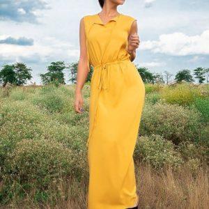 Заказать по скидке горчичное летнее длинное платье без рукавов для женщин