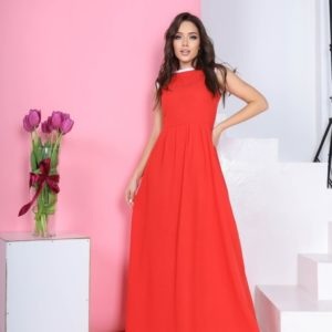 Купить коралловое длинное платье из льна без рукавов для женщин недорого