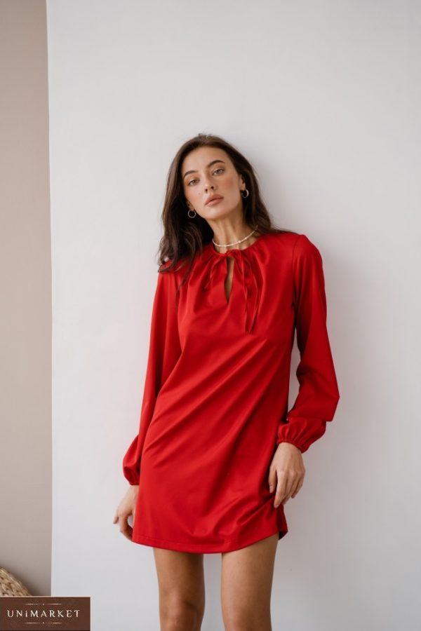 Приобрести красное женское платье мини с длинным рукавом с завязкой (размер 42-48) в интернете