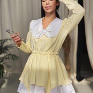 Купить желтое платье со съемным воротником по скидке для женщин