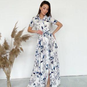 Купить выгодно по скидке белое цветочное платье-рубашка в пол для женщин