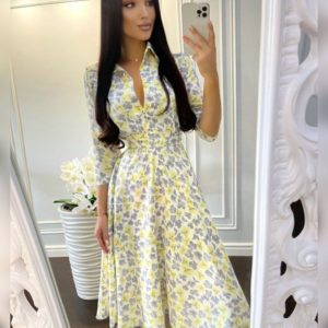 Заказать онлайн желтое принтованное платье миди с поясом для женщин