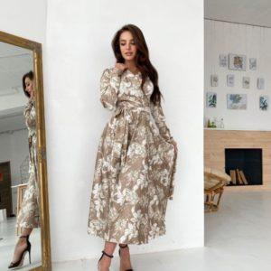 Купить беж женское шелковое платье с длинным рукавом в цветочный принт в интернете