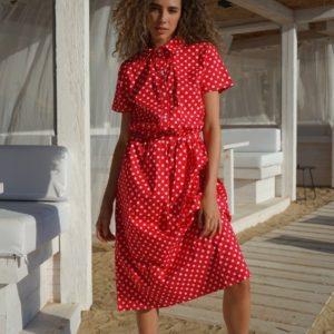 Приобрести красное женское платье-рубашка из хлопка в горошек (размер 42-52) в Украине
