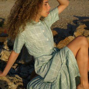 Заказать в интернете женское платье-рубашка в клетку из хлопка (размер 42-54) цвета оливка