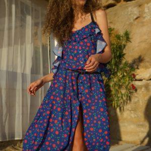 Купить синее женское летнее платье-рубашка на бретельках (размер 42-54) по низким ценам