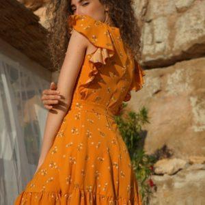 Заказать по скидке женское летнее платье с рюшами на рукавах (размер 42-52) цвета горчица