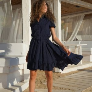 Заказать по скидке синее платье из прошвы с воротником для женщин