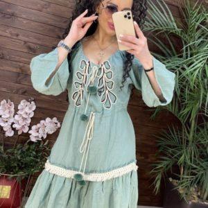 Заказать фисташка женское летнее платье с помпонами дешево