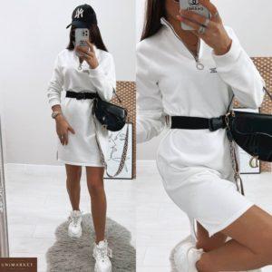 Купить женское белое платье с накатом в спортивном стиле (размер 42-48) по скидке