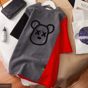 Заказать онлайн графит платье из двухнитки с принтом для женщин