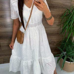 Купить белое платье миди для женщин из прошвы с коротким рукавом недорого