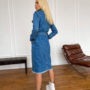 Купить синее джинсовое платье для женщин миди с необработанным краем (размер 42-48) недорого