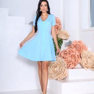 Купить голубое однотонное платье для женщин с коротким рукавом (размер 42-48) в интернете