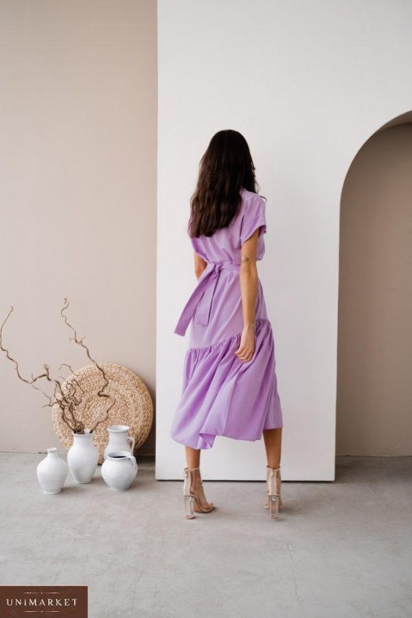 Купить женское платье миди оверсайз с поясом по низким ценам лаванда