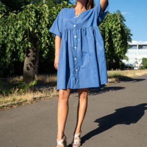 Заказать недорого женское оверсайз платье-рубашка голубое из поплина