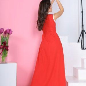 Приобрести по скидке женское длинное платье из льна без рукавов коралл
