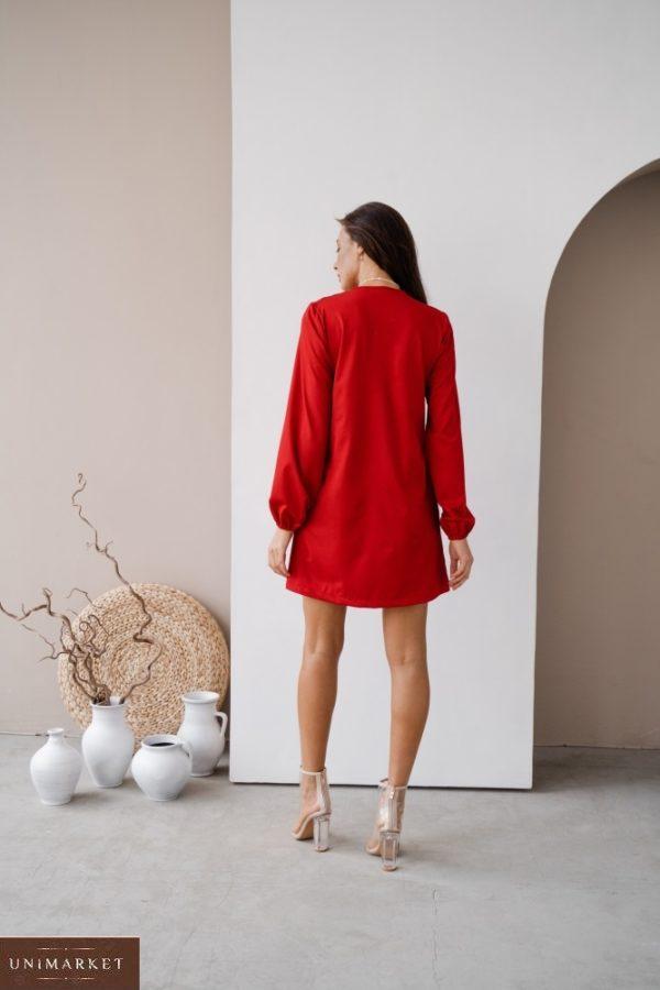 Купить на распродаже женское платье мини с длинным рукавом с завязкой (размер 42-48) красного цвета