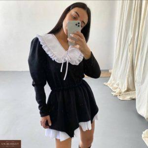 Приобрести черное платье со съемным воротником по скидке для женщин
