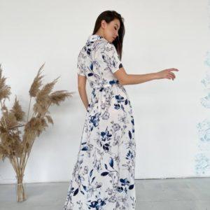 Заказать белое цветочное платье-рубашка в пол для женщин онлайн