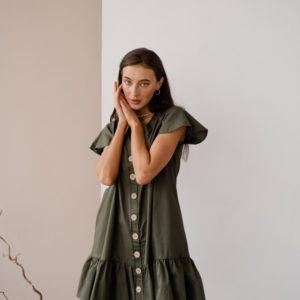 Купить женское платье-рубашка из тонкого коттона цвета хаки по скидке