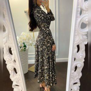 Приобрести черно-белое женское платье миди с принтом на запах выгодно