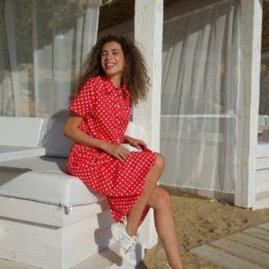 Заказать по скидке красное Платье-рубашка из хлопка в горошек (размер 42-52) для женщин