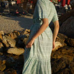 Купить оливковое женское платье-рубашка в клетку из хлопка (размер 42-54) в Украине