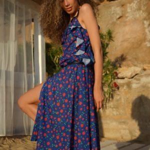 Заказать онлайн синее летнее платье-рубашка на бретельках (размер 42-54) для женщин