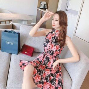 Приобрести черно-розовое платье мини под шею из шелка для женщин онлайн