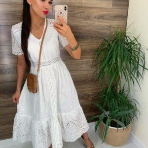 Заказать недорого женское платье миди из прошвы с коротким рукавом белого цвета