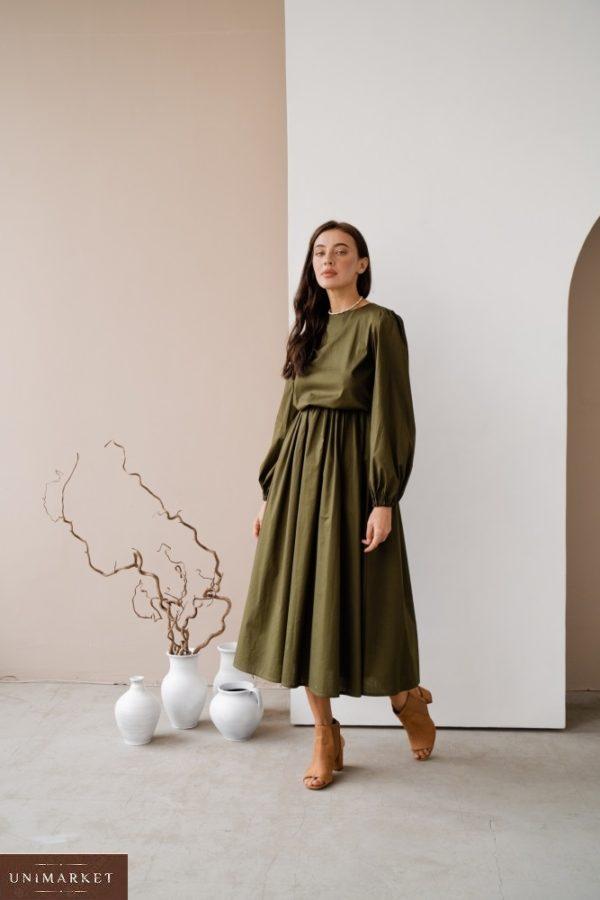 Заказать онлайн цвета хаки закрытое платье из коттона с длинным рукавом (размер 42-48) для женщин