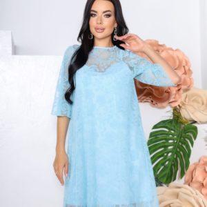 Купить в интернете женское платье из сетки с напылением флок (размер 42-52) голубого цвета