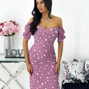 Приобрести недорого цвета фреза платье в горох с рукавами-фонариками (размер 42-48) для женщин
