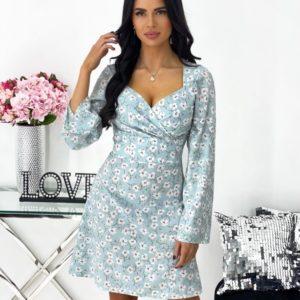 Приобрести выгодно голубого цвета цветочное платье мини с длинным рукавом (размер 42-48) для женщин