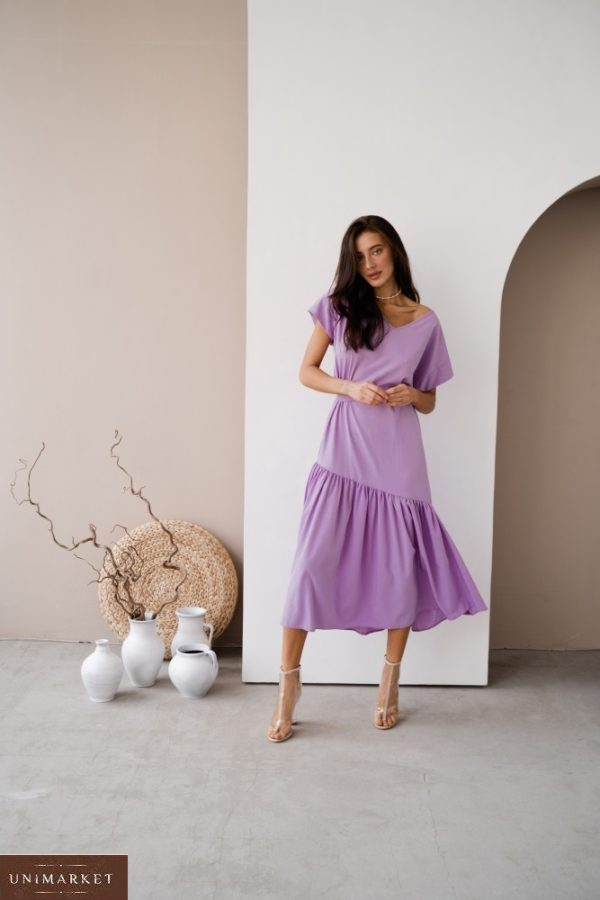 Приобрести лавандовое женское платье миди оверсайз с поясом в интернете