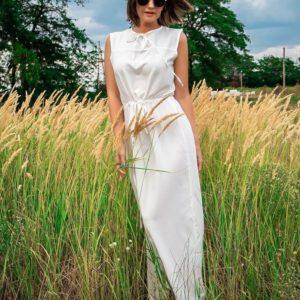 Купить белое выгодно летнее длинное платье без рукавов для женщин