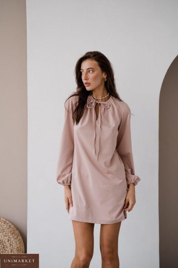 Купить беж женское платье мини с длинным рукавом с завязкой (размер 42-48) в Украине онлайн