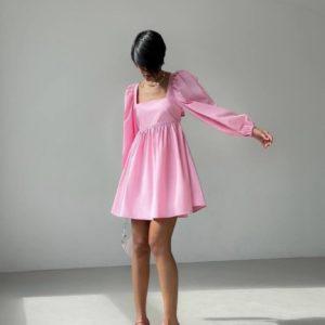 Приобрести розовое женское летнее хлопковое платье с длинным рукавом дешево