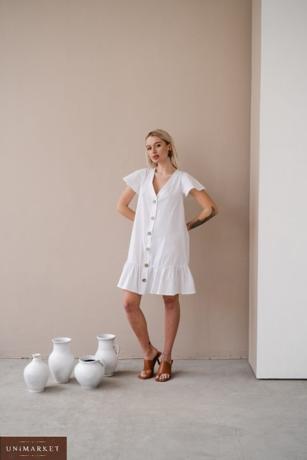 Заказать белого цвета женское платье-рубашка из тонкого коттона на распродаже