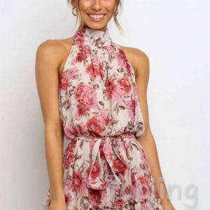 Заказать розовое женское платье мини под шею из шелка онлайн