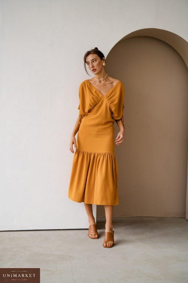 Приобрести горчица для женщин платье со сборками на плечах из жатого хлопка (размер 42-48) недорого