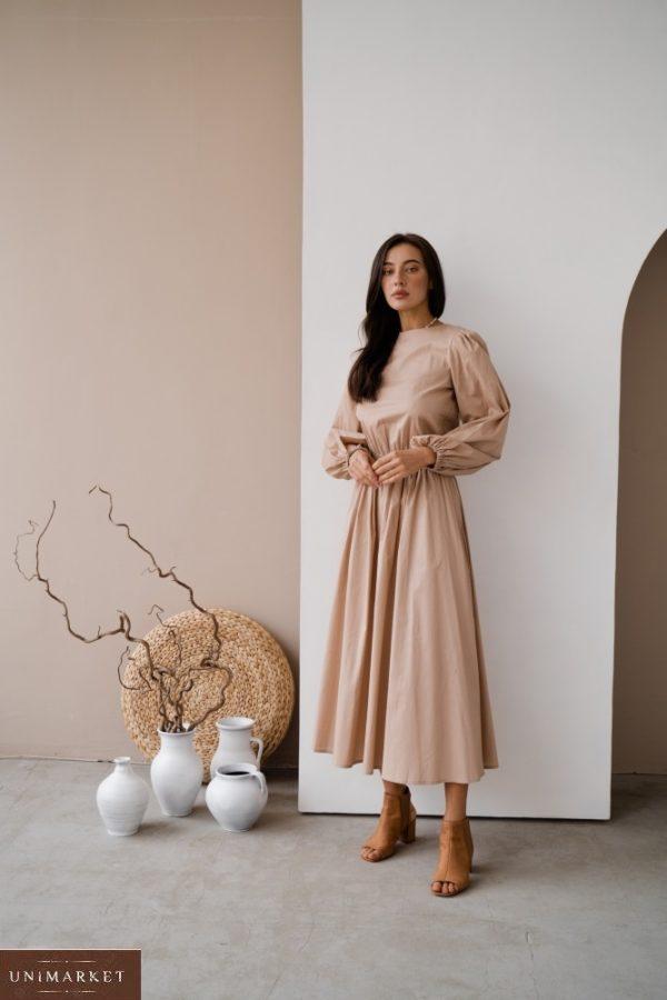 Приобрести в интернете бежевое закрытое платье из коттона с длинным рукавом (размер 42-48) для женщин