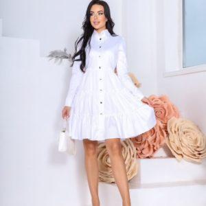 Заказать по низким ценам белое платье-рубашка с длинным рукавом и рюшами (размер 42-48) для женщин