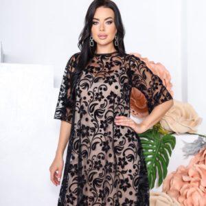 Приобрести по низким ценам женское платье из сетки с напылением флок (размер 42-52) черное