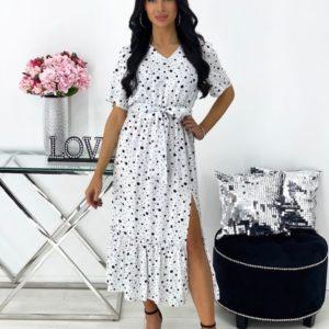 Заказать онлайн женское платье миди из штапеля в горох (размер 42-48) белого цвета