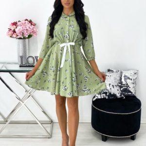Купить оливковое на лето платье мини в цветочный принт для женщин платье мини в цветочный принт в интернете